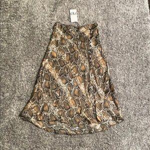 ZARA Snakeskin Skirt with Slit - NWT